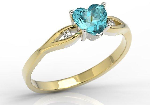 Pierścionek z żółtego i białego złota z niebieskim topazem w kształcie serca i cyrkoniami lp-71zb