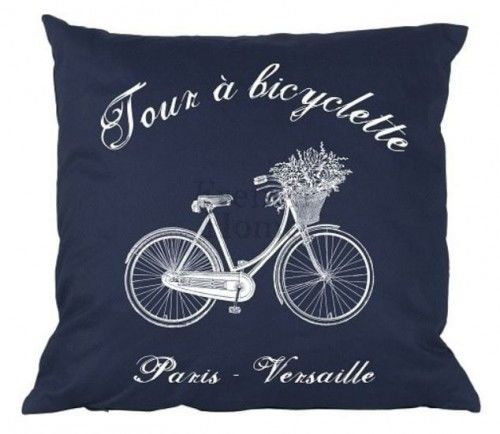Poduszka dekoracyjna Bicyclette granatowa