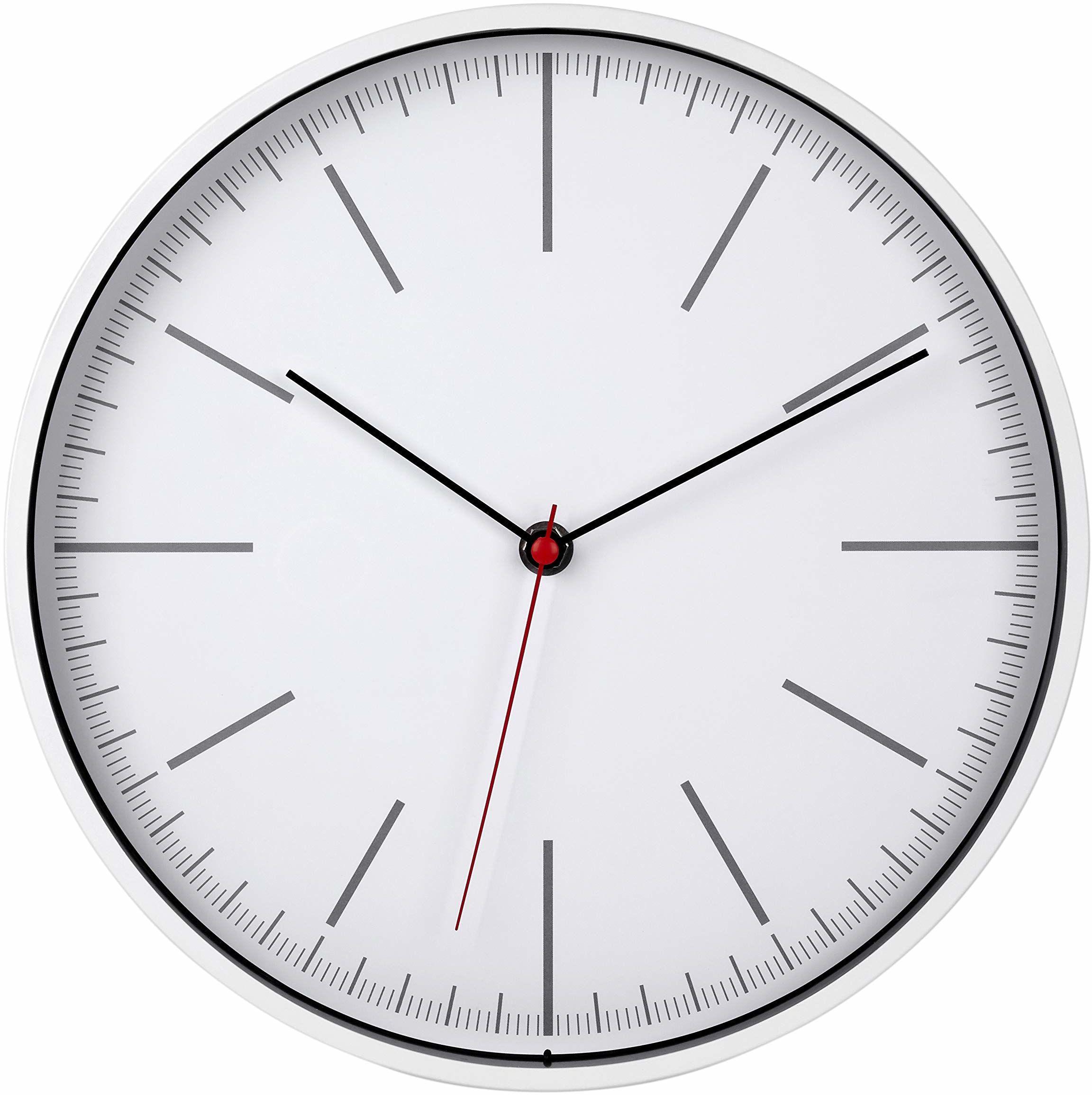 TFA Dostmann Zegar ścienny analogowy, szkło, tworzywo sztuczne, biały, dł. 285 x szer. 45 x wys. 315 mm