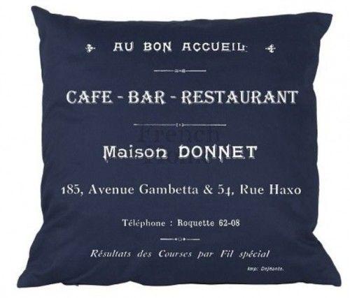 Poduszka dekoracyjna Cafe Bar granatowa