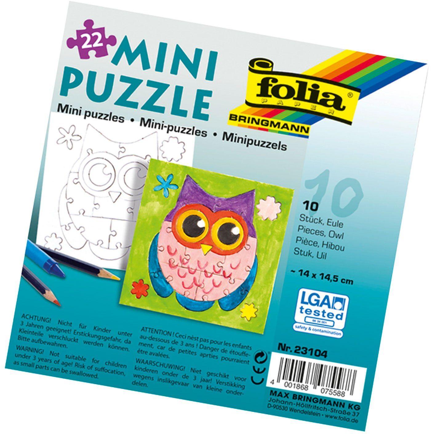 folia 23104 - Mini Puzzle sowa, ok. 14 x 14,5 cm, 22 części, 10 sztuk, białe - dopiero potem malowanie, dla dzieci, chłopców i dziewczynek
