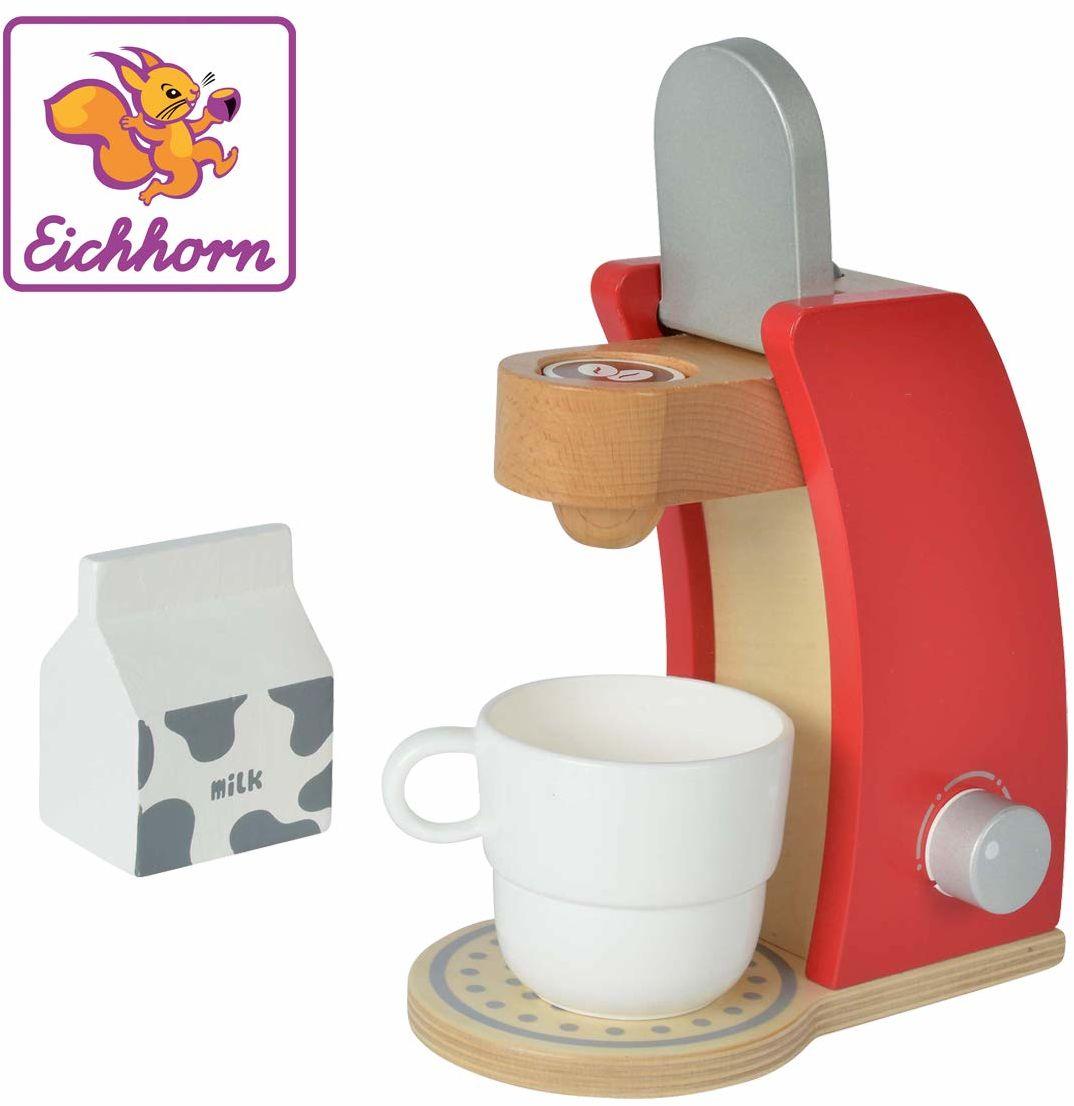 Eichhorn 100002489 - ekspres do kawy z drewna, w zestawie filiżanka, pudełko na mleko i 1 x saszetka do kawy, 4-częściowy, 12 x 18,5 x 20,5 cm, drewno brzozowe