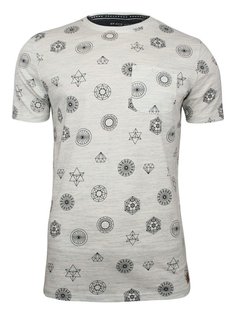 Szary T-Shirt (Koszulka) z Kieszonką -Brave Soul- Męski, Figury Geometryczne, Bryły TSBRSSS19PORTALecru