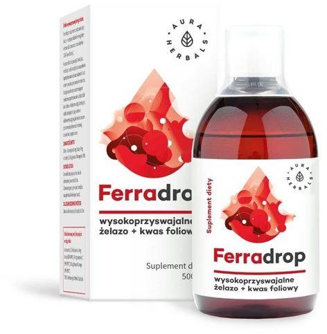 Ferradrop - żelazo + kwas foliowy płyn 500ml Aura Herbals diglicynian żelaza