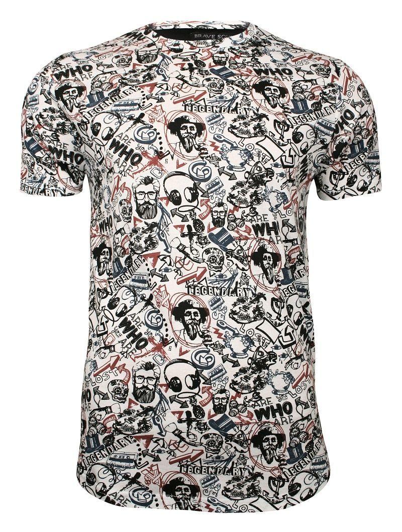 Biały T-Shirt (Koszulka) z Nadrukiem -Brave Soul- Męski, Broda, Fajka, Znaki, 100% Bawełna TSBRSSS19GALLUSwhite