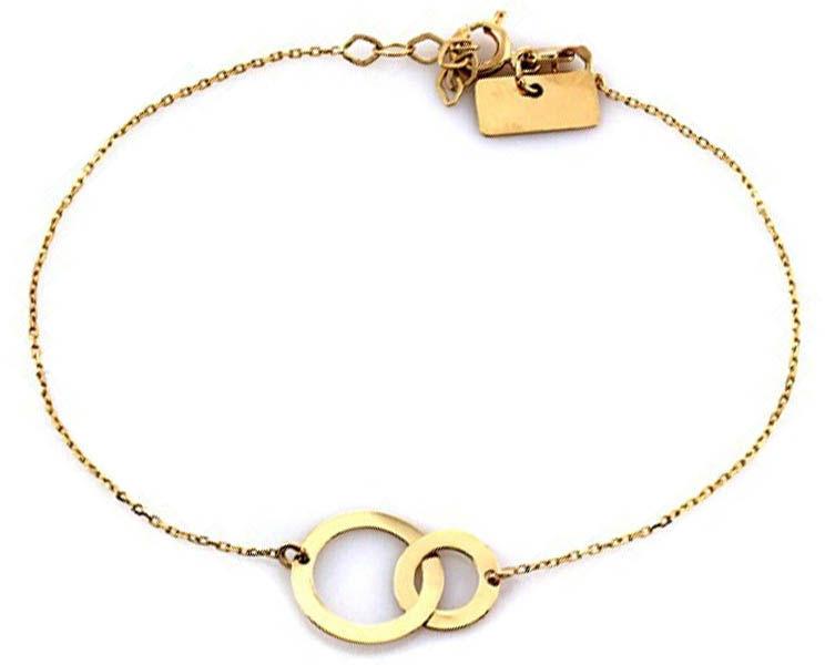 Złota bransoletka 585 podwójne kółeczka