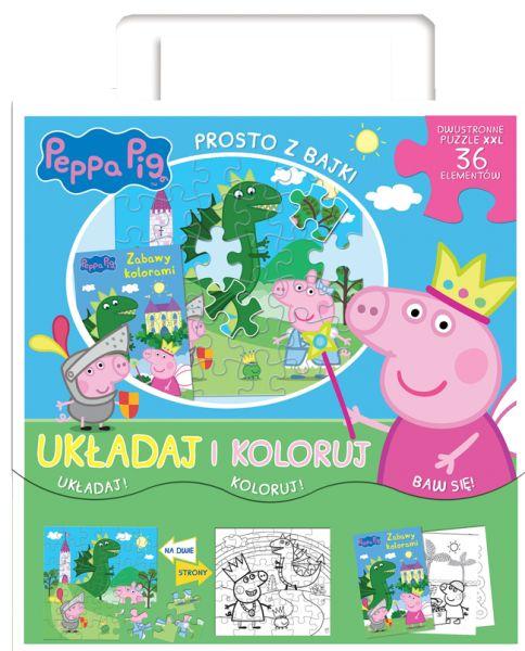 Świnka Peppa Układaj i koloruj! Prosto z bajki + puzzle XXL