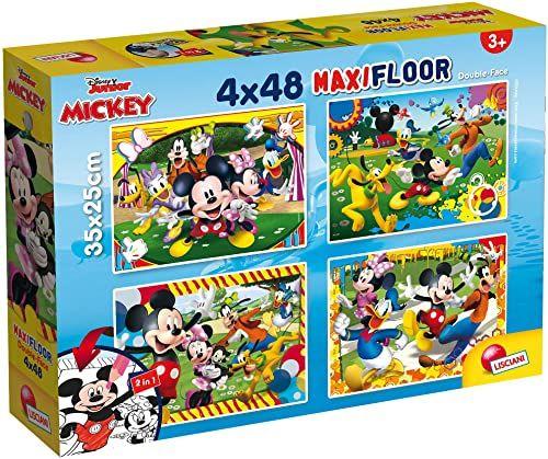 Liscianigiochi 86610 Disney Supermaxi 4 x 48 Mickey puzzle dla dzieci, wielokolorowe