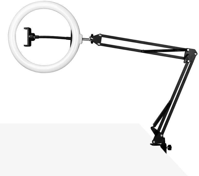 """Lampa pierścieniowa ring light 10"""" 8w led czarna do blatu"""