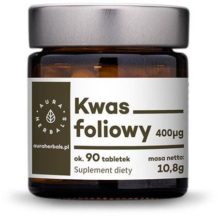 Kwas foliowy w tabletkach 400 g - 90 dziennych porcji Aura Herbals