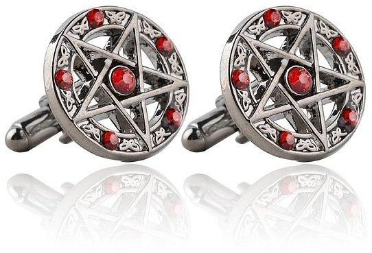 Pentagramy z czerwonymi kryształkami - spinki do mankietów