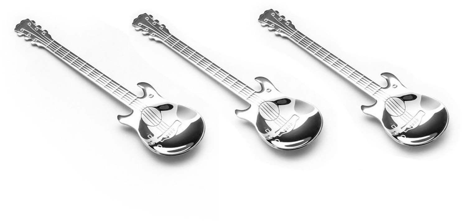Muzyczne łyżeczki srebrne Gitara - 3 szt.