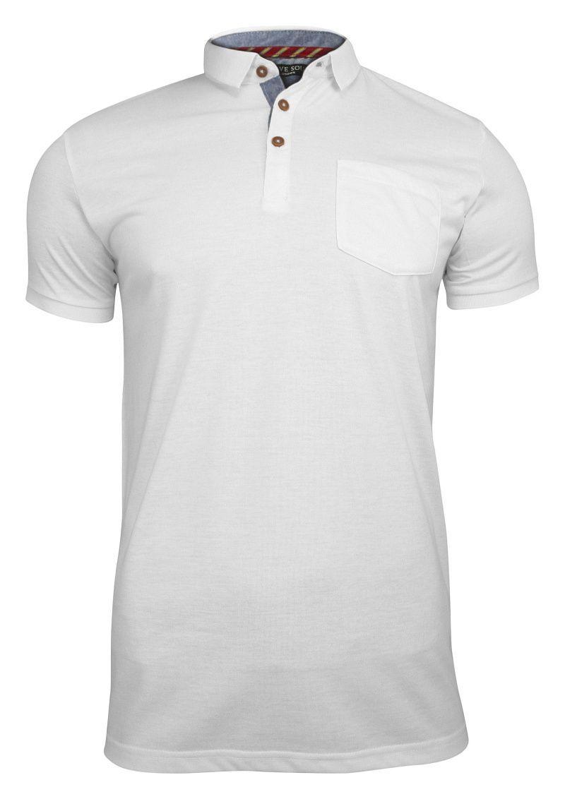 Biała Koszulka Polo z Kołnierzykiem -Brave Soul- Męska, z Kieszonką, Bez Nadruku TSBRSSS19JULIUSwhite