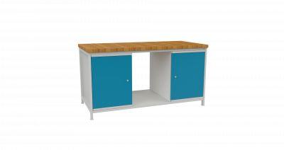 Metalowy stół warsztatowy z dwoma szafkami STW 402 szr.1600mm