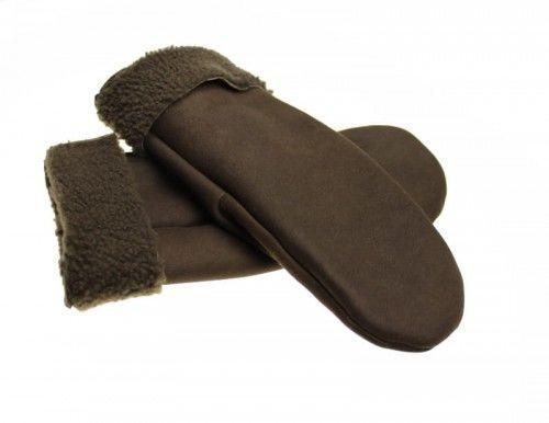 Ciepłe kożuchowe rękawiczki łapki - kolor brązowy