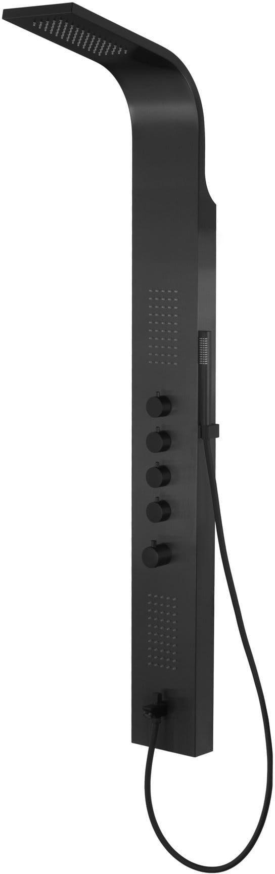 Corsan Samsara panel prysznicowy z termostatem czarny, czarne pokrętła, wylewka S-003TW SAMSARA CZARNA WY
