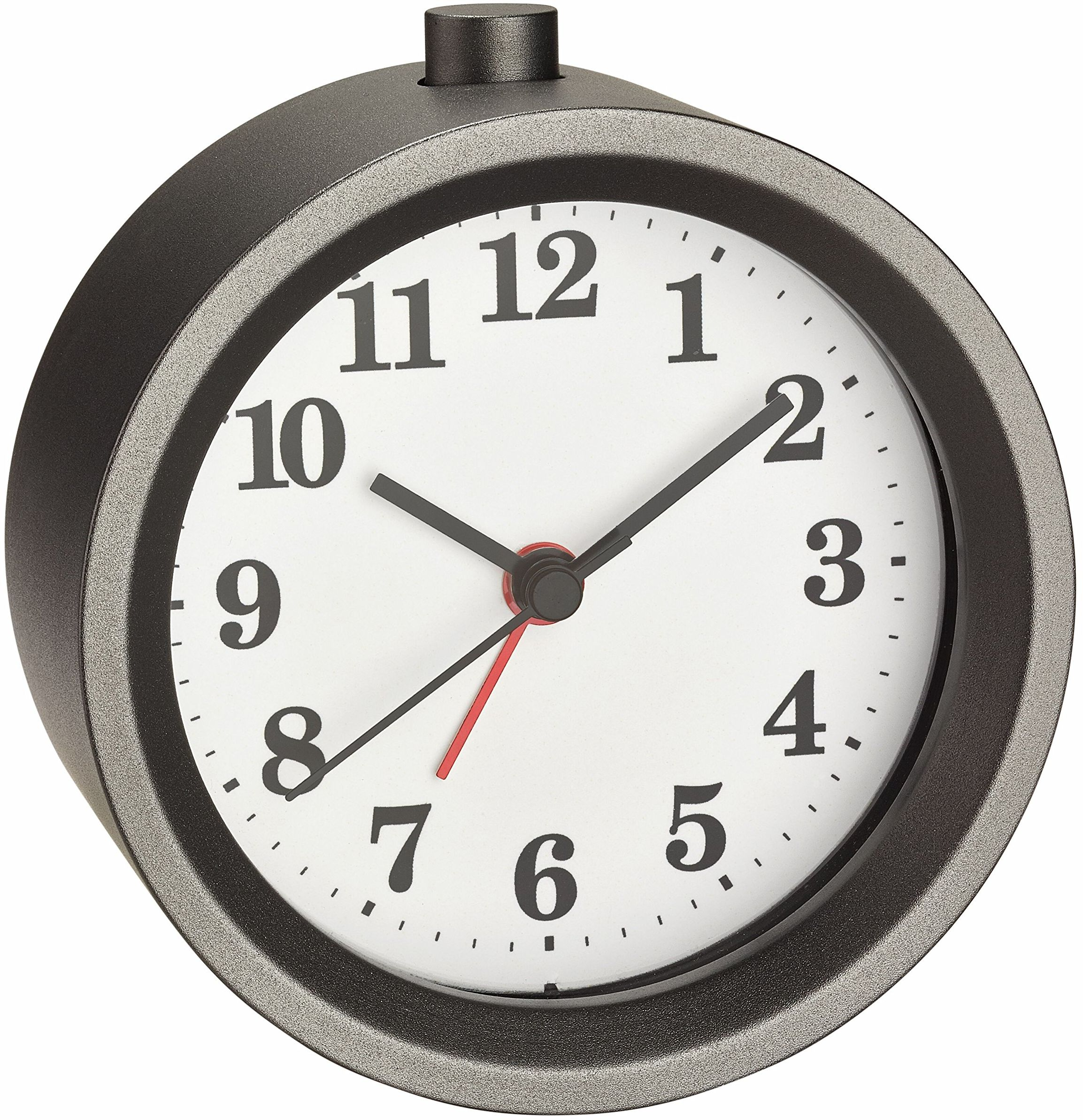 TFA Dostmann Analogowy budzik z metalu, 60.1026, z cichym mechanizmem zegarowym, budzik z funkcją drzemki, szary, dł. 100 x szer. 57 x wys. 136 mm
