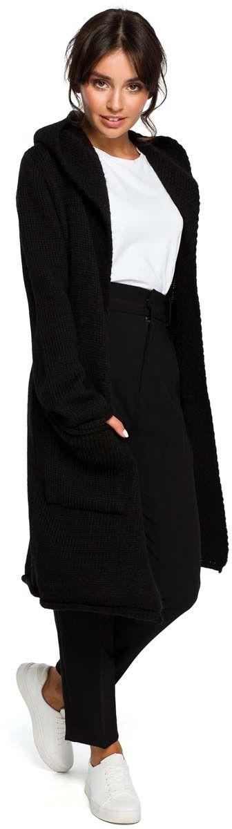 Czarny długi niezapinany kardigan z kapturem