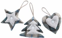 Opakowanie 3 szt. wisiorków z tkaniny tartanowej niebieska gwiazda/serce/pino10 cm