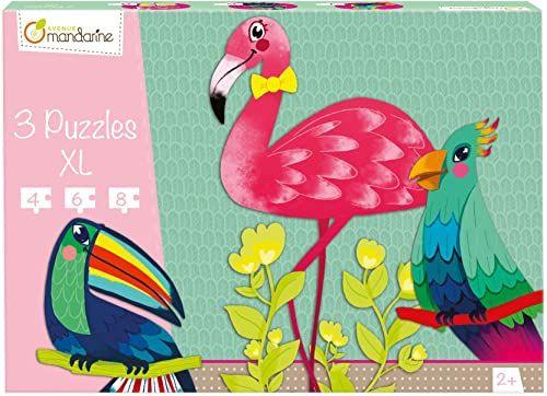 Avenue Mandarine Puzzle 3 XL dla małych dzieci - tropikalne ptaki w wieku 2 lat)