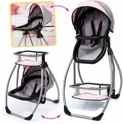 Bayer Design 63533AA akcesorium Trio 3 w 1, wózek dla lalek, huśtawka, łóżko, nosidełko, meble, nowoczesny, szary wygląd dżinsów, różowy z motylkiem