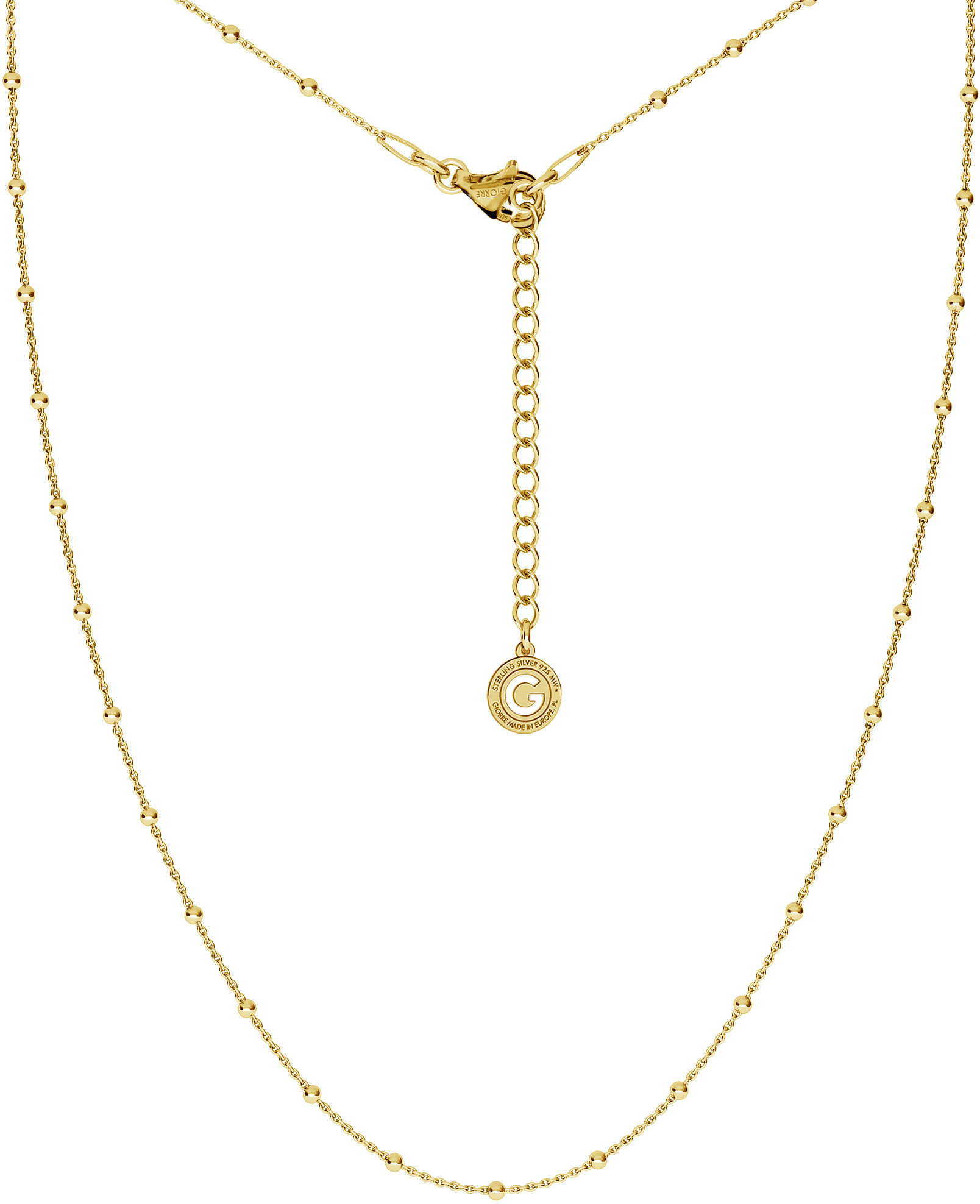Srebrny delikatny łańcuszek ankier z kulkami, srebro 925 : Długość (cm) - 40 + 5 , Srebro - kolor pokrycia - Pokrycie żółtym 18K złotem