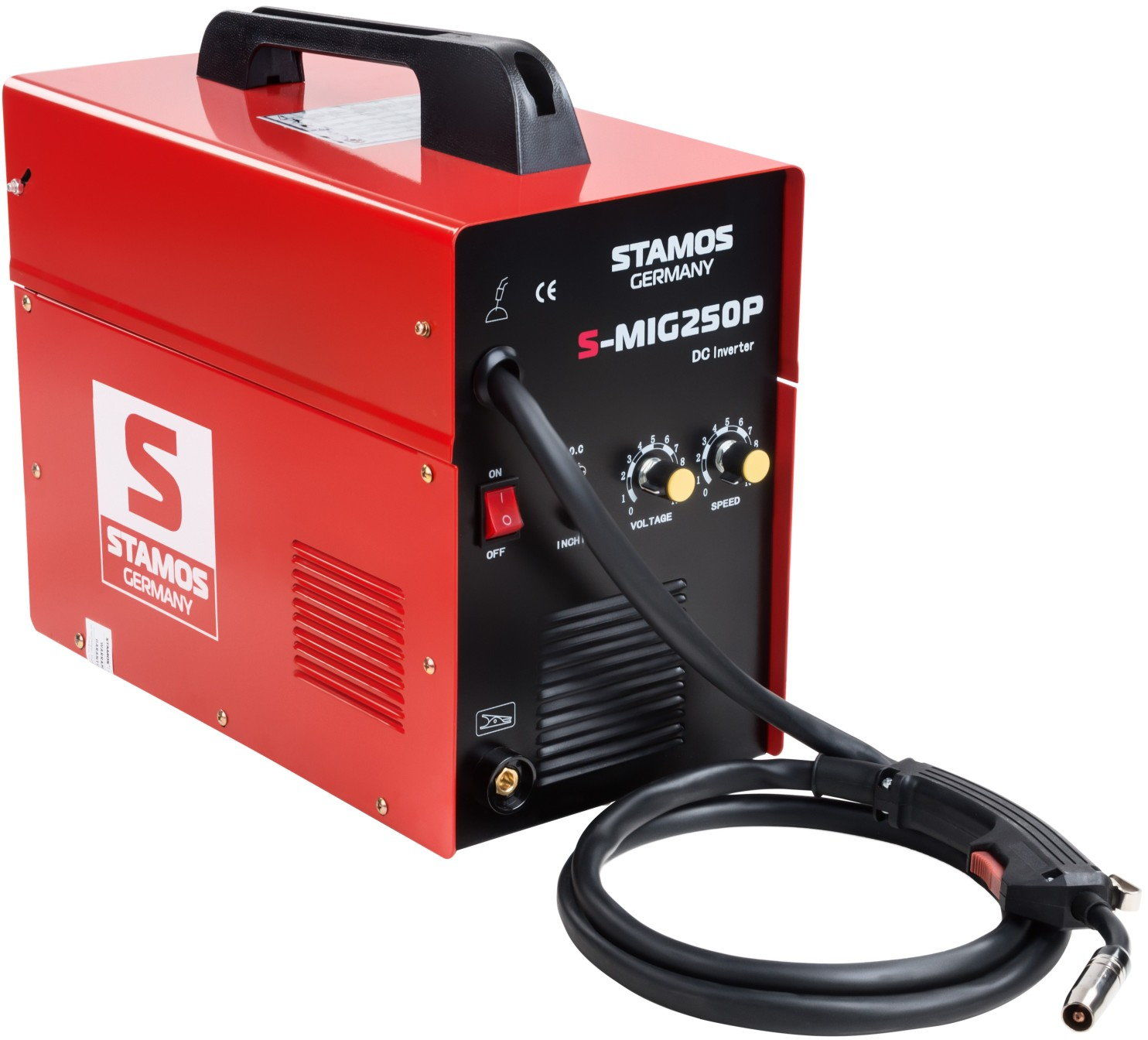 Spawarka MIG/MAG - 250 A - 230 V - przenośna - PLUS maska spawalnicza - Firestarter 500 - Advanced - Stamos Basic - S-MIG 250P - 3 lata