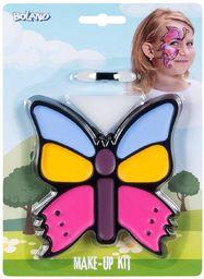Boland 45105  zestaw do makijażu z małym motylem, paleta do makijażu, 4 kolory z aplikatorem i gąbką, do kostiumu, na karnawał, imprezę tematyczną, Halloween