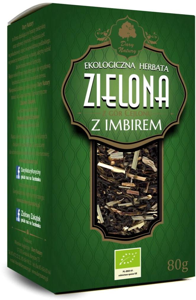 Herbata zielona z imbirem liściasta bio 80 g - dary natury