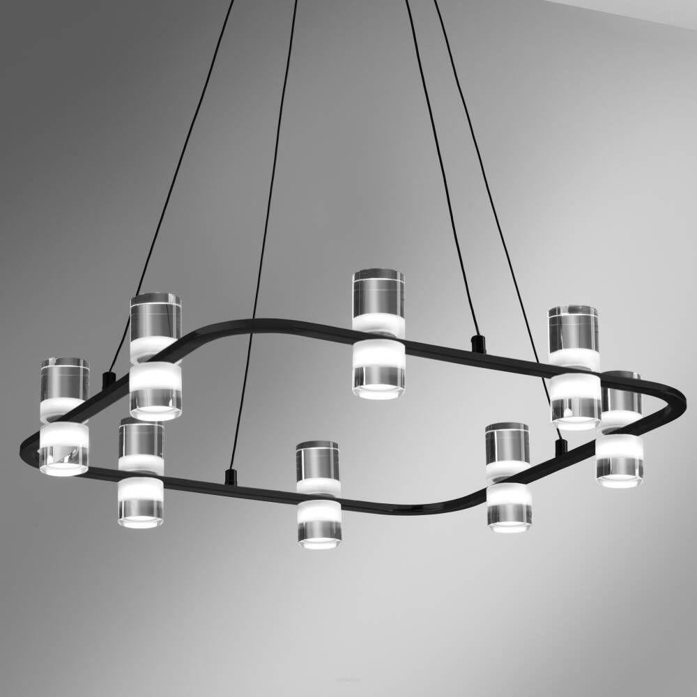 Lampa wisząca Kingfort 0085.30.NE VIVIDA International efektowna lampa wisząca czarna LED 8 kloszy