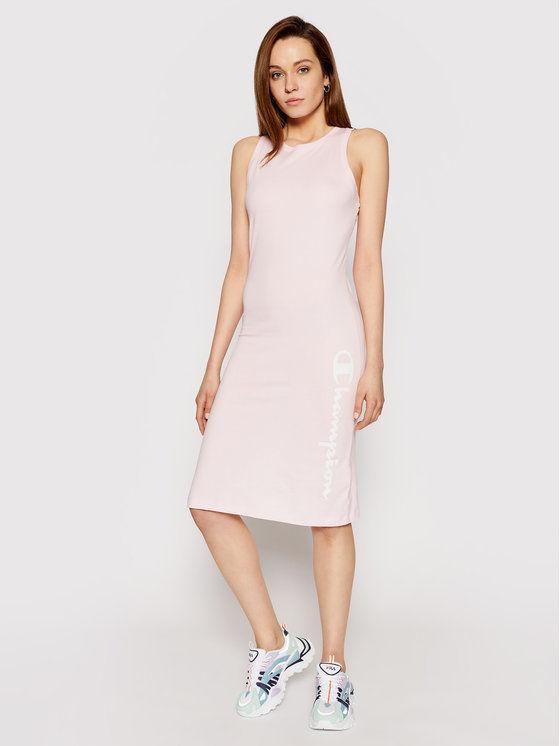 Champion Sukienka codzienna Vertical Script Logo Print 112610 Różowy Regular Fit