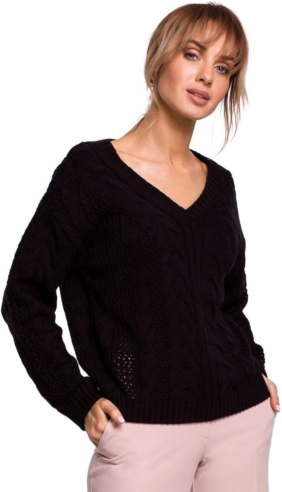 M510 Ażurowy sweter z dekoltem w serek - czarny
