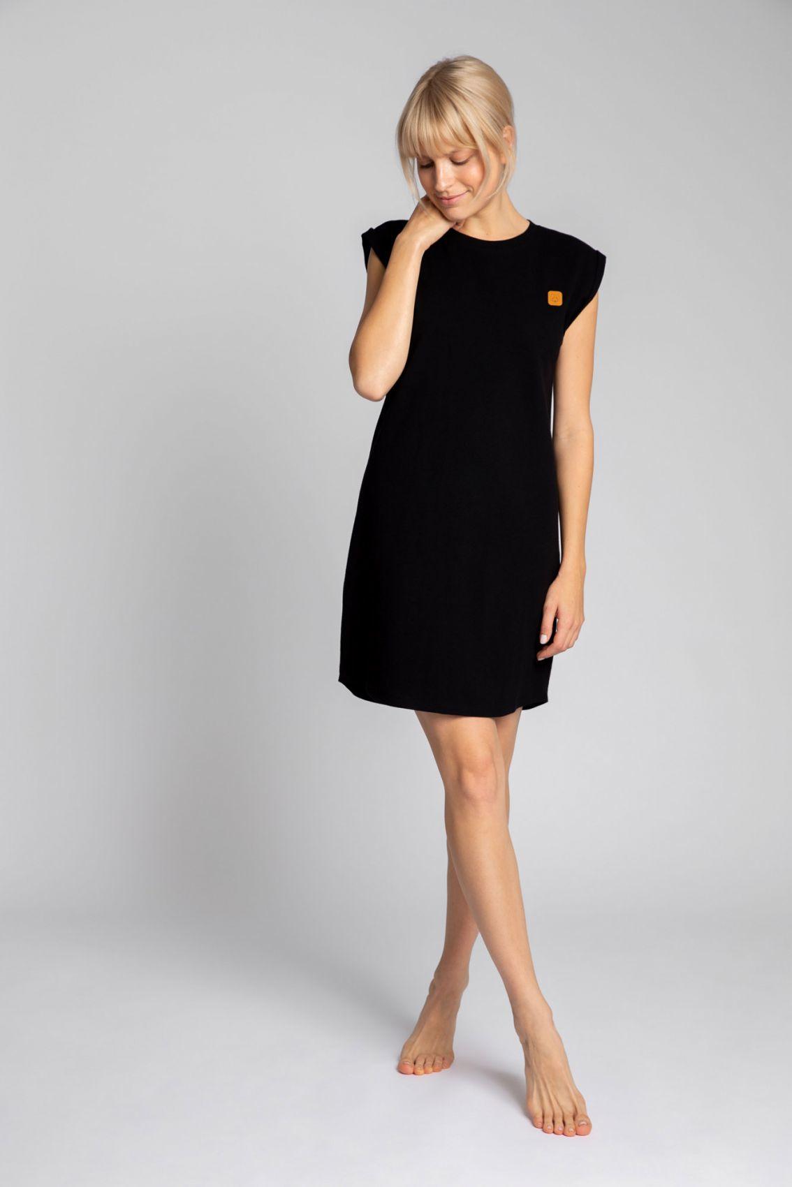 LA033 Sukienka z bawełny prążkowanej bez rękawów - czarny