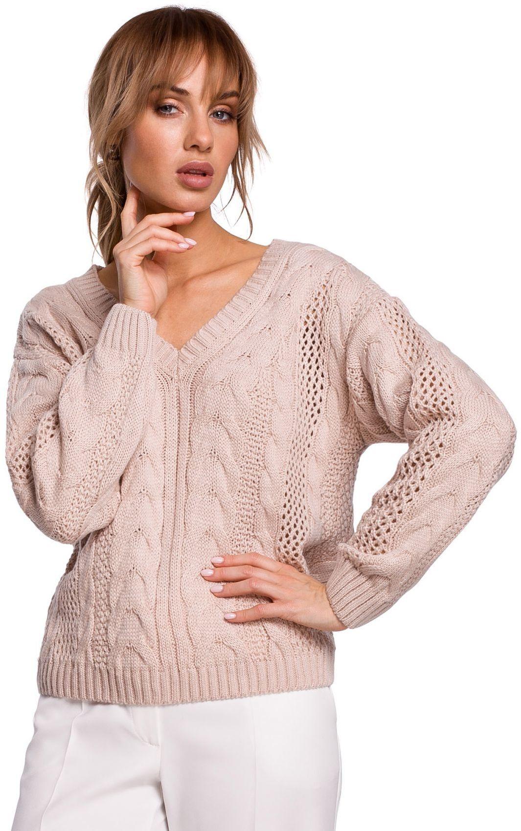 M510 Ażurowy sweter z dekoltem w serek - pudrowy