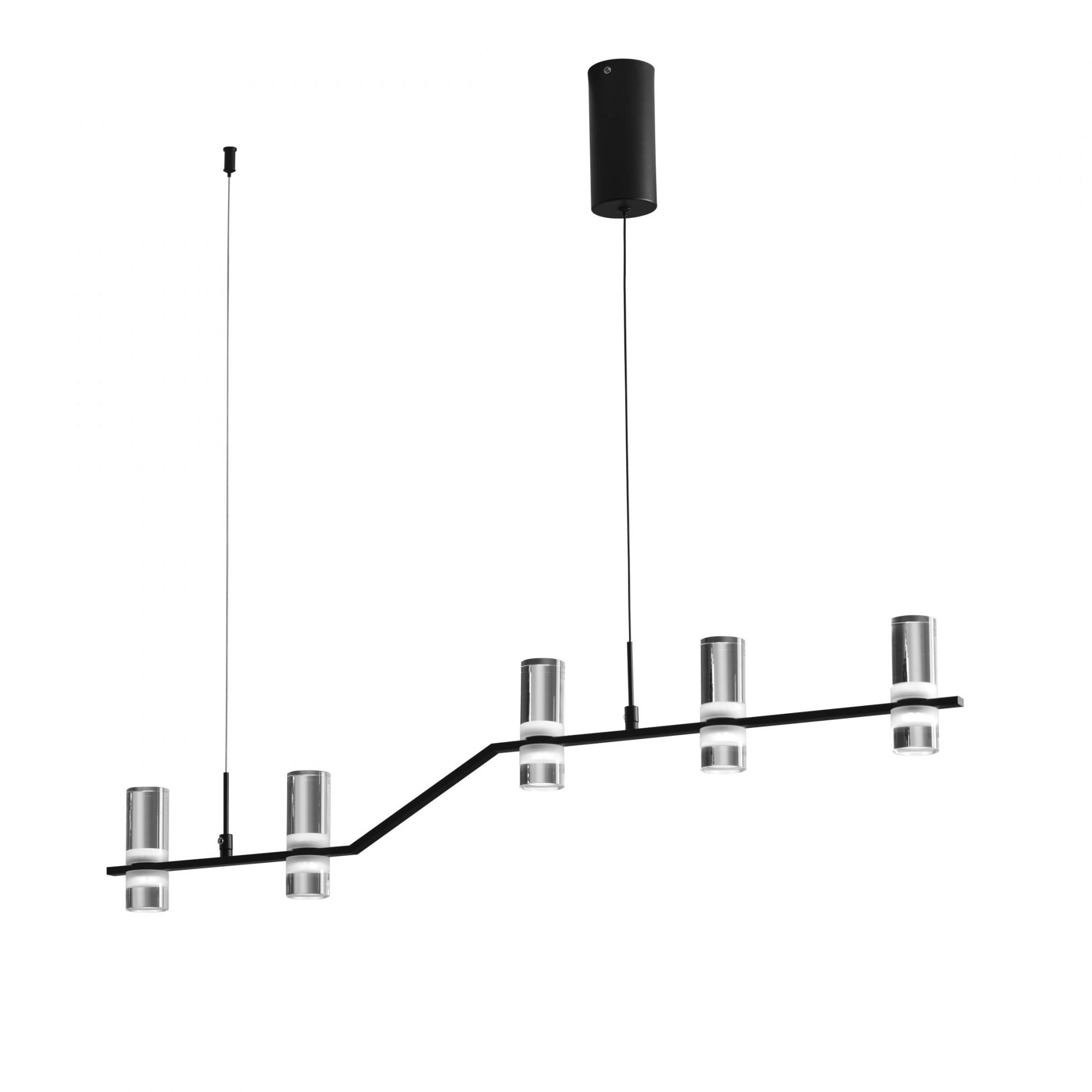 Lampa wisząca Kingfort 0084.30.NE VIVIDA International efektowna lampa wisząca czarna LED 5 kloszy