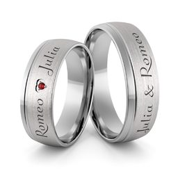 Obrączki srebrne z imionami i sercem z rubinem - wzór Ag-380
