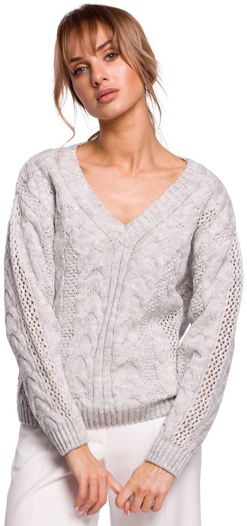 M510 Ażurowy sweter z dekoltem w serek - szary