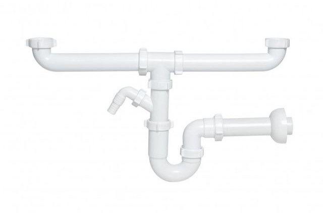 Półsyfon do zlewozmywaka 2-komorowego Ani-plast rurowy
