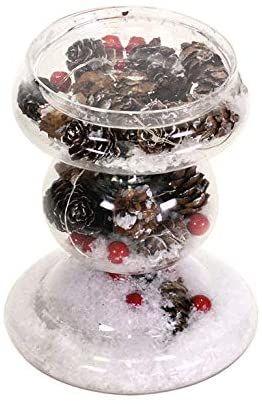 EUROCINSA świecznik szklany z szyszkami, czerwonymi jagodami i śniegiem, Ø 10,8 x 14 cm. 2 sztuki, biały, rozmiar uniwersalny