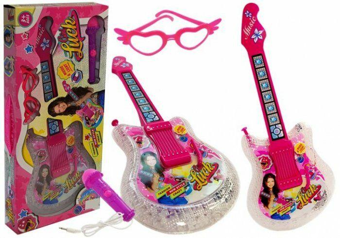Zestaw Gitara Dziecięca z Mikrofonem i Okularami Różowa 51 cm