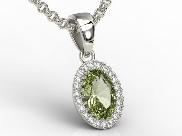 Wisiorek z białego złota z oliwinem i diamentami apw-49b