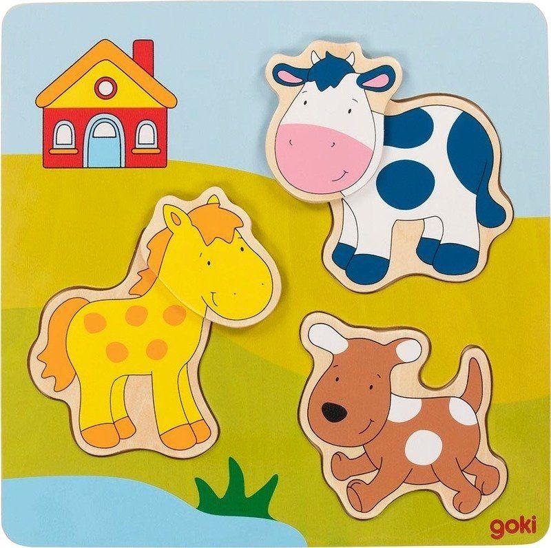 Układanka dla dzieci Zwierzątka z farmy 57722- Goki, puzzle do układania