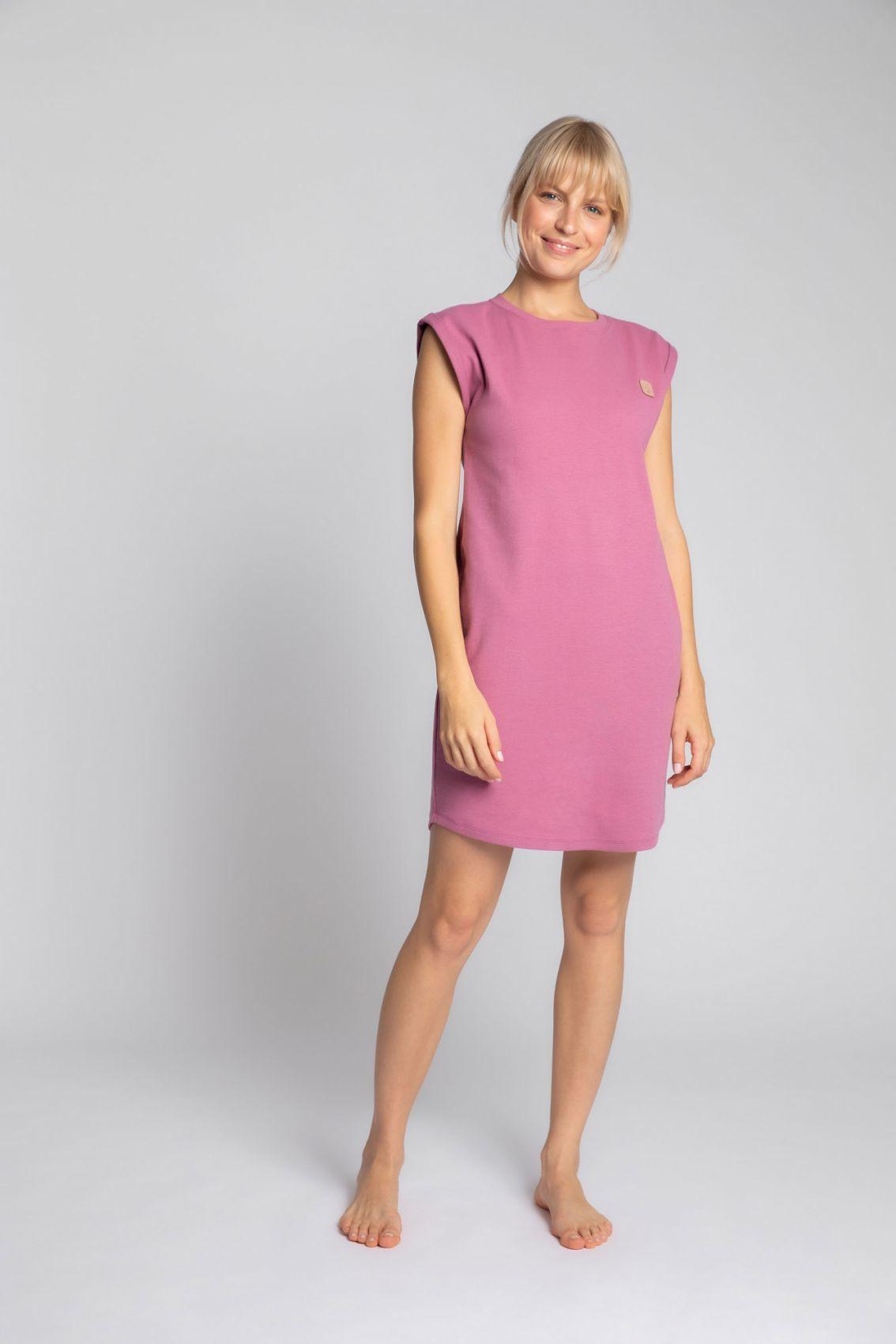 LA033 Sukienka z bawełny prążkowanej bez rękawów - wrzosowy