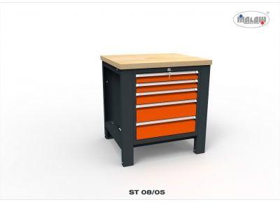 Stół warsztatowy ST08/05 JEDYNKA na narzędzia 5 szuflad na klucz
