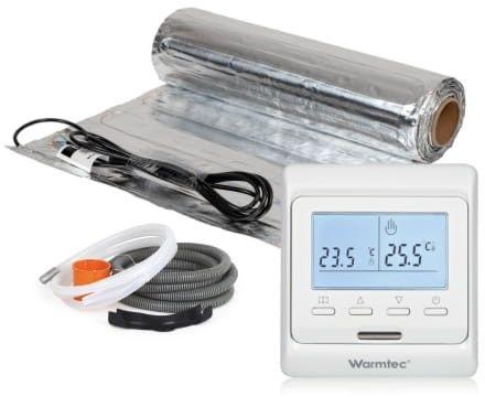 Mata grzejna pod panele podłogowe, kompletny zestaw Mata + regulator temperatury + akcesoria montażowe Warmtec AL-10/T510 rozmiar 1 m2