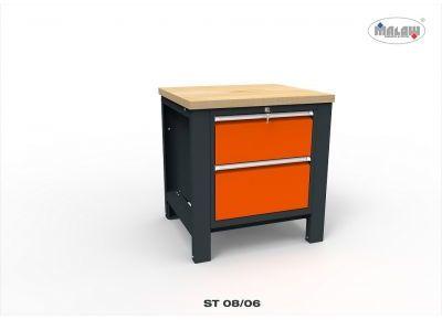 """Stół ST08/06 """"JEDYNKA"""" roboczy warsztatowy 2 szuflady metalowy"""
