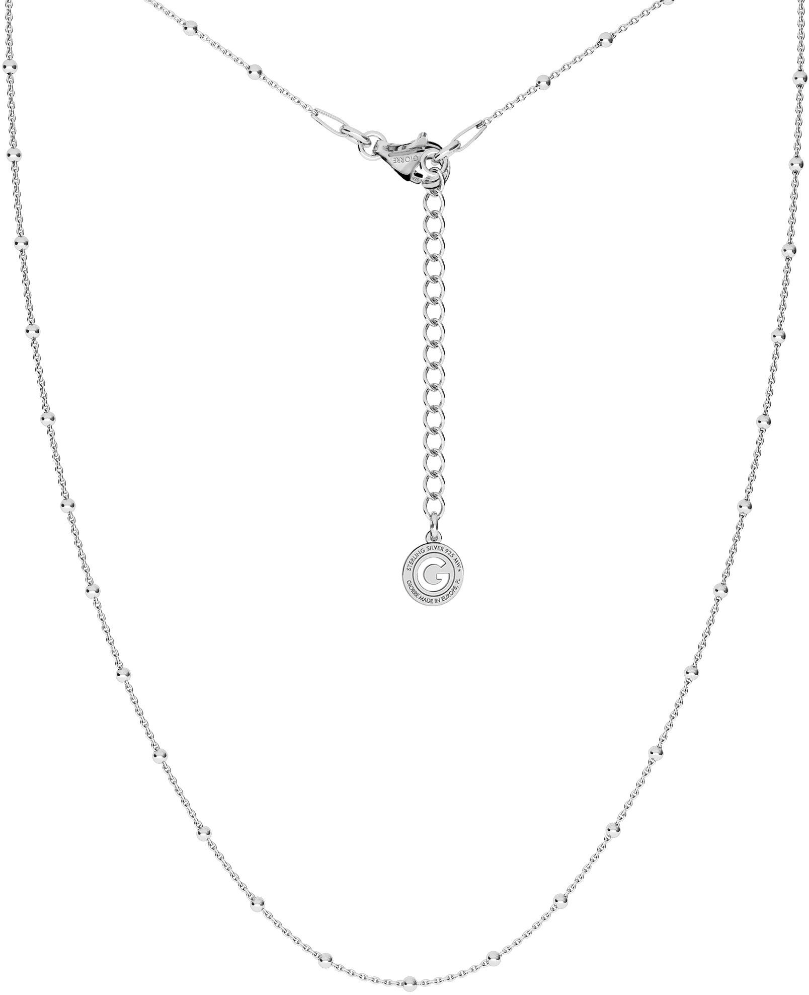 Srebrny delikatny łańcuszek ankier z kulkami, srebro 925 : Długość (cm) - 70 + 5, Srebro - kolor pokrycia - Pokrycie platyną