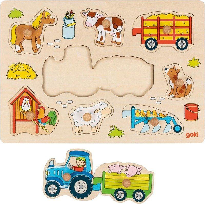 Drewniana układanka z uchwytami Praca na roli 57468- Goki, zabawki na roczek
