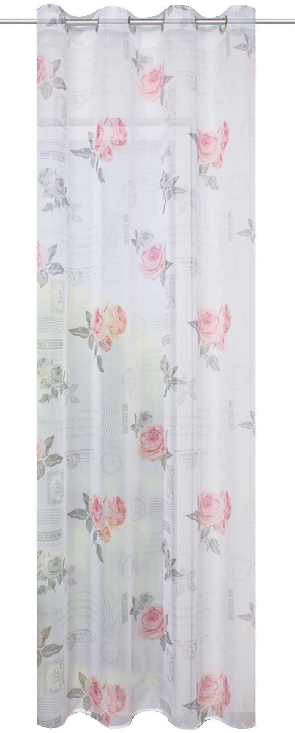 Home fashion Zasłona z oczkami woal nadruk róża, poliester, 245 x 140 cm