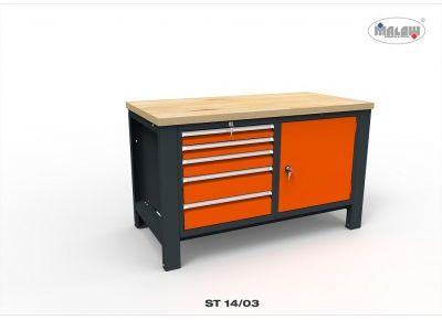 Stół warsztatowy ST14/03 DWÓJKA 900kg nośność 5 szuflad na zamek
